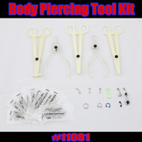 Wholesale 25pcs Body Piercing Tool Kit Needle Belly Eyebrow Lip Tongue Ring jewelry