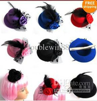 Wholesale 6 Color Women Feather Hair Clip Mini Top Hat Fascinator Cocktail Party Decor New