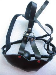 Wholesale Cuero de caballo del estilo de la boca de la máscara de plástico con la bola de la mordaza de la Mujer BDSM erótica Juega juguetes del sexo XLY452