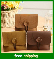 Wholesale Vintage Eiffel Tower Suede Leather Wallet key Coin Purse Bag women purse gifts
