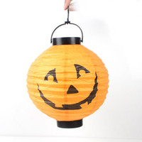 Wholesale Halloween supplies props Jack lantern pumpkin lights portable pumpkin paper lanterns mounted battery