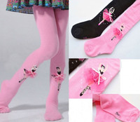 Wholesale Pink Color Girls Pantyhose European Order Dancing Girl Pattern Two Color Year Children s Tights
