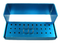 Wholesale PC New Holes Dental Bur Holder Stand Autoclave Disinfection Box Blue