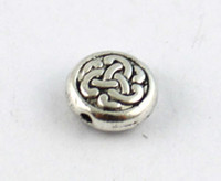 Wholesale 120PCS Tibetan silver celtic knot flat beads A8934