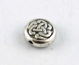 120PCS Tibetan silver metal celtic knot flat beads 9.5mm A8934