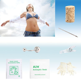 Wholesale Sterile Navel Ring Rings Tattoo Body Piercing Belly Button Jewelry Needle Tools Kit Supply CK SC201