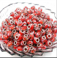 Wholesale Red Loose Beads Charms Murano Jewelry Bead Fit European Bracelet P053102