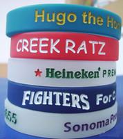 al por mayor rubber band bracelets-pulseras de goma de silicona de encargo del texto / logotipo de Marcado con el color EG-WBD003 bandas de goma personalizada para eventos regalos