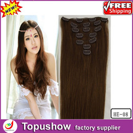 Wholesale Brown g quot Queen Virgin Brazilian Human Remy Clip in Hair Extension HE