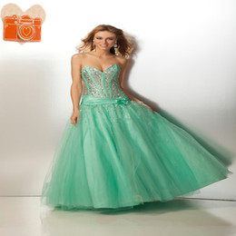 Wholesale 2015 Quinceanera Dress Best Selling light Green A line Sweetheart Crystal Beading Flower Nice Prom Gowns Custom Made