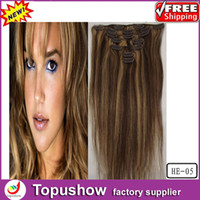 Wholesale Blonde Virgin Human Hair European Body Wavy Remy Hair Extensions set HE