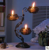 wrought iron - European classical wrought iron three romantic Candlestick