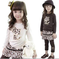 Wholesale 5 pieces Baby girl s dress suit sets leopard cat T shirt tops leopard skirt legging pant