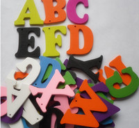 Wholesale 50pcs Cartoon Letter Wood Beads Sewing or Scrapbooking Craft Assorted colors Hot