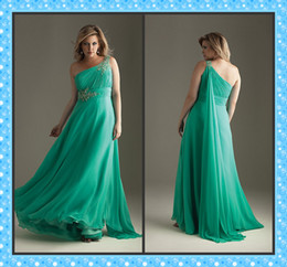 Wholesale Custom Made Plus Size Dress A line One Shoulder Beaded Floor Length Empire Chiffon Evening Dresses