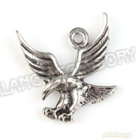 Wholesale Alloy Flying Eagle Vintage Silver Charms Pendant Fit Handcraft DIY