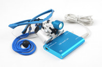 Cheap 2014 Dental Dentist Surgical Medical Binocular Loupes 3.5X 420mm Optical Glass Loupe+LED Head Light Lamp Blue