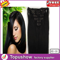 Wholesale Discount Fashion Virgin Asian Human Hair Clip in Extension B Black g quot HE