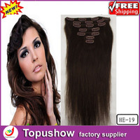 Wholesale 7pcs Virgin Hair Extension Promotion Dark Brown quot g Brazilian Clip in hair curly HE