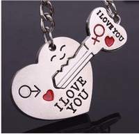Wholesale 50pcs PR quot I LOVE YOU quot Alloy Heart Key Chain Lover gift Keyring Keyfob