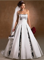 black and white dress - New white and satin black Bride wedding dress Gown Embroider custom