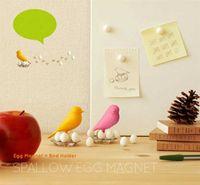Wholesale Creative Fridge magnet Cute Sparrow Eggs Magnet Bird Hold