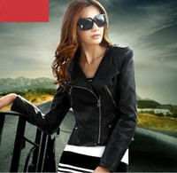 Wholesale 2012 New Fashion PU Leather Women s Short Design Jacket Black Outerwear
