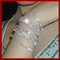 Wholesale Vintage crystal Bracelets charm stretch Single diamond bracelet Bangles Great Gift fashion jewelry