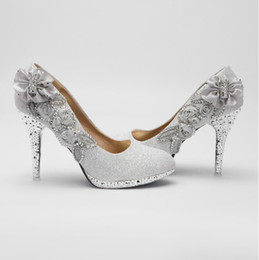 Wholesale Glitter Silver cm Bridal High Heels Shoes Wedding Bridesmaid Shoes Party Shoe Size gt gt rersfw3