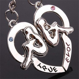 """50pcs=25PR lot Alloy Heart""""back to back""""Couple Lover Couple Keyring Keychain Keyfob Lover Gifts"""
