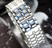Wholesale Lava Style Iron Samurai LED Metal Watch Men s Watch Stainless Steel Blue RED Bracelet watch