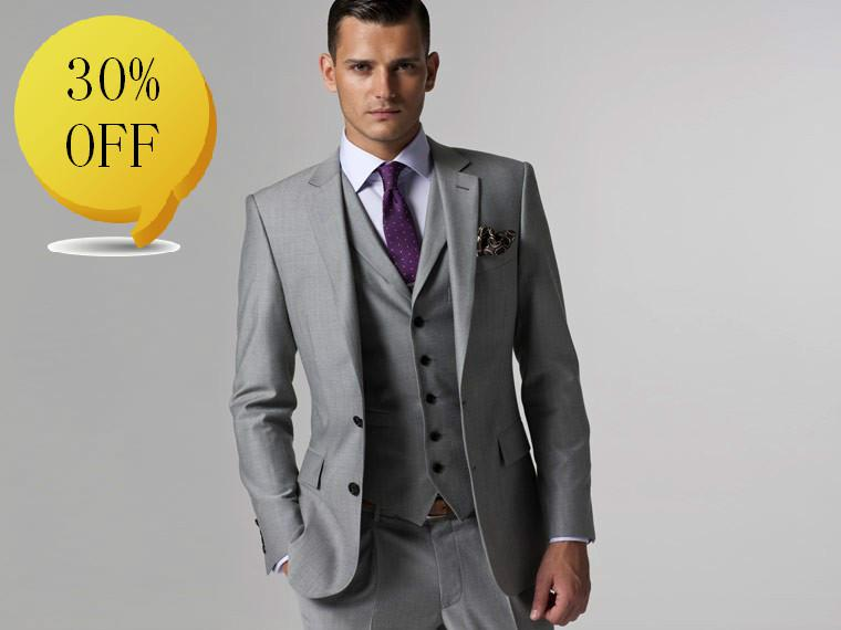 Design Men Suit Custom Made Suit Men Suit Dress Light Grey Suit ...
