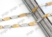 Wholesale 316L Stainless Steel Gold and Silver Rectangular Link Chain Necklace Men s Jewelry SSN1202