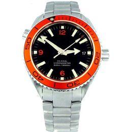 luxury Mens Sapphire Planet Ocean Automatic Black Dial Orange Bezel Sport Watch Wrist Men's Watches
