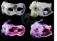 Wholesale 100pcs Party supplies Halloween Princess lace Mask with feather Venetian masks