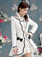 Wholesale The Most Popular Fashion Sexy Sweety Elegant Dress Womens Wool Coat Joker Women s Outwear Bow White Coat Black Corner