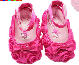 Wholesale 2015 new Hot Pink Bow roses princess shoes baby shoes non slip toddler shoes size CM CM CM