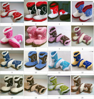 Baby snow booties infant shoes crochet cowboy design cotton ...