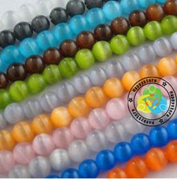 Ojo de la piedra preciosa 8-12mm DIY de gato multicolor naturales Cuentas 200pcs / lot del collar de la pulsera en forma redonda suelta cats for beads for sale desde gatos de perlas proveedores
