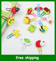 as shown animal paper bookmarks - Cartoon animal wooden colour drawing Paper clips bookmarks Binder Stapler set