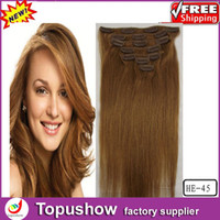 Wholesale New Fashion Women Girls Style Malaysian Natural Curly Virgin Clip Hair Extensions Light Brown g quot HE