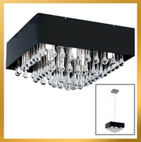 Modern 110V - 240V   G4 x 8 New Contemporary clear Drip Square Crystal Chandelier Light Pendant Lamp Ceiling Black Shade
