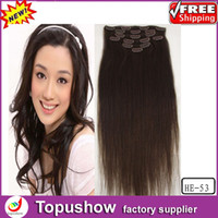 Wholesale Popular Indian Natural Curly Virgin Clip Hair Extensions Dark Brown g quot ombre human hair HE