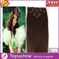 Wholesale Popular Human Curly Virgin Clip Remy Hair Extensions Medium Brown g quot HE
