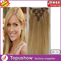 Wholesale Popular Curly Virgin Clip Remy Hair Extensions Mixed Blonde g quot HE