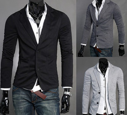 Wholesale 2012 Hot Sale Two Button Lapel Men s Casual Jackets Slim Fit Cotton Small Suits For Man Outwear