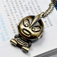 Wholesale Vintage fashion style Ultraman design Pocket Watch necklace amp sweater necklace