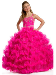 Wholesale 2015 Hot Pink Green Spaghetti Beaded Wire Spiral Skirt Girl Pageant Dresses Flower Girl Dresses Wedding Prom Dresses Gown