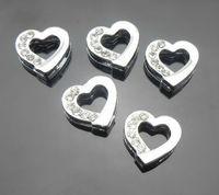 bells findings - 100pcs mm half rhinestone heart slide charms DIY Jewelry findings