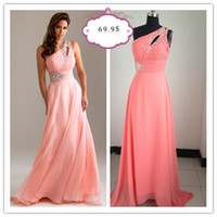 Wholesale 2011 Sexy One Shoulder Beaded Ruffles Chiffon Floor Length Prom Dresses NM6490